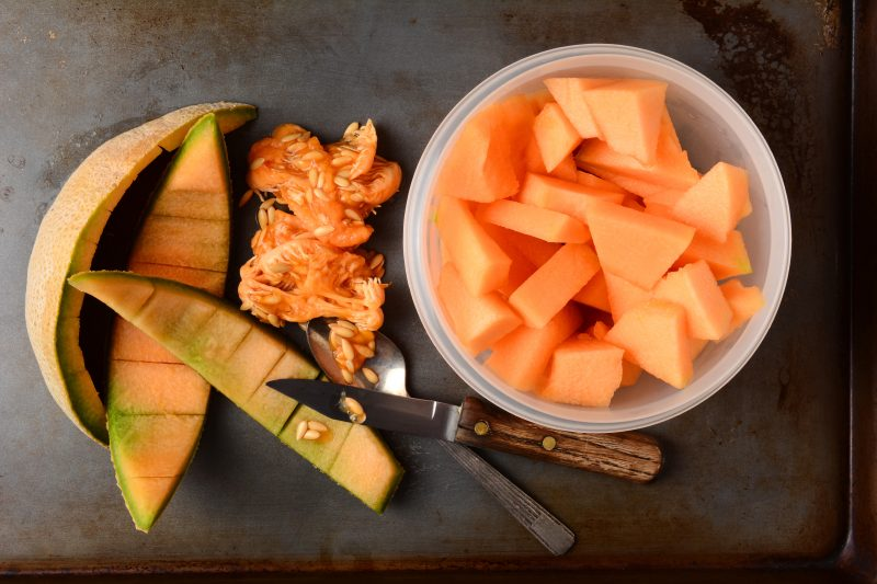 Cantaloupe Slices and Cubes